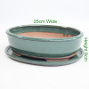Bonsai Tree Pot green glazed oval available to buy online from All Things Bonsai Sheffield Yorkshire with free UK delivery