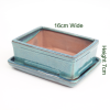 6 Inch Aqua Rectangular Glazed Bonsai Pot With Matching Tray available online from All Things Bonsai Sheffield Yorkshire
