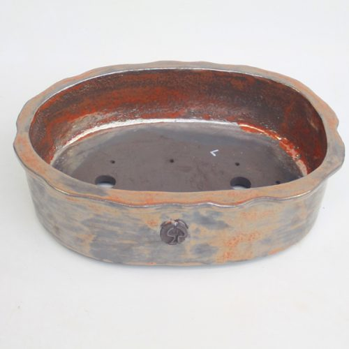Oval Bonsai Pot Stuart Curry Brown Glazed available to buy online from All Things Bonsai Sheffield Yorkshire with free UK delivery