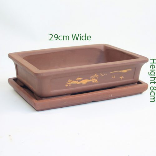 Painted Unglazed Bonsai Pot Brown 1 available to buy online from All Things Bonsai Sheffield Yorkshire with free UK delivery