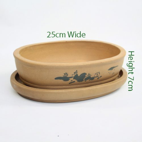 Painted Unglazed Bonsai Pot Sand 2 available to buy online from All Things Bonsai Sheffield Yorkshire with free UK delivery
