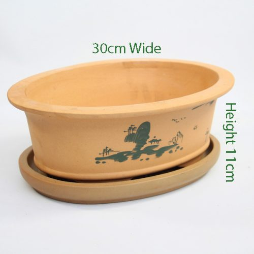 Painted Unglazed Bonsai Pot Sand 3 available to buy online from All Things Bonsai Sheffield Yorkshire with free UK delivery