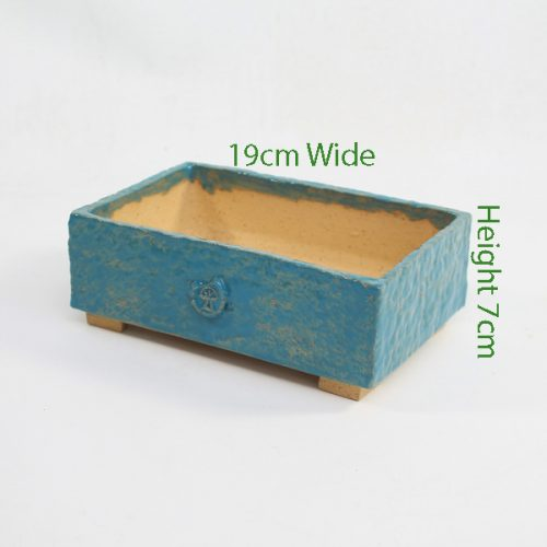Bonsai Pot Stuart Curry Blue Rectangle available to buy online from All Things Bonsai Sheffield Yorkshire with free UK delivery