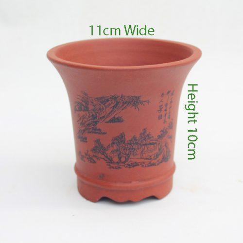 Mame Unglazed Painted Pot Brown available to buy online from All Things Bonsai Sheffield Yorkshire with free UK delivery
