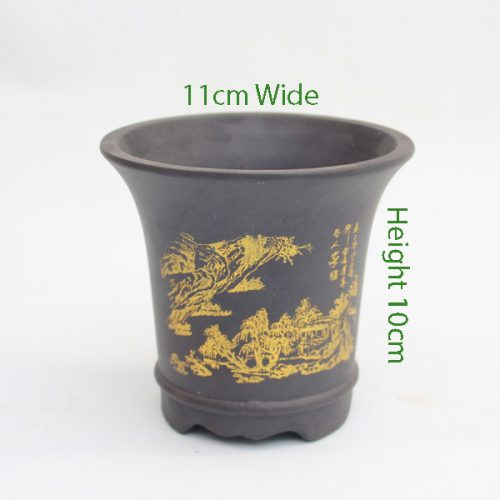 Mame Unglazed Painted Pot Black available to buy online from All Things Bonsai Sheffield Yorkshire with free UK delivery