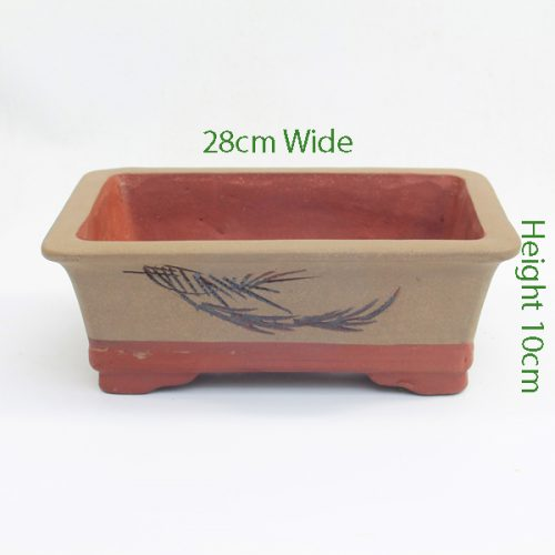 Painted Unglazed Bonsai Pot code ZH1 Small available to buy online from All Things Bonsai Sheffield Yorkshire with free UK delivery