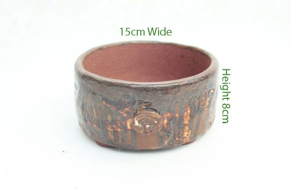 Bonsai Pot Stuart Curry Red Glazed Round SC7 available to buy online from All Things Bonsai Sheffield Yorkshire with free UK delivery