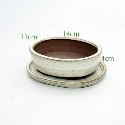 30cm Blue Shallow Oval Glazed Bonsai Pot
